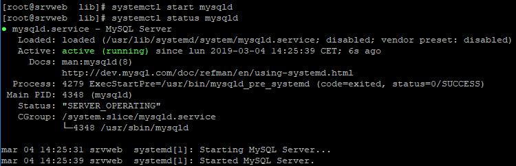 Configuración MySQL Server 8 tras instalación en Linux CentOS 7