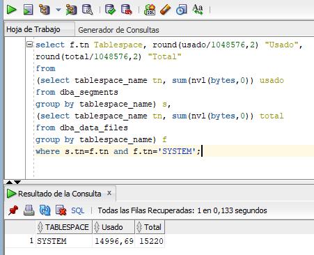 Algunas consultas SQL de tablas y vistas útiles para obtener información del uso del tablespace SYSTEM en Oracle