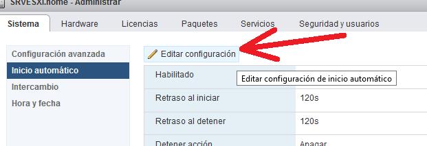 Habilitar el inicio/arranque automático de las máquinas virtuales en VMware ESXi 6.5
