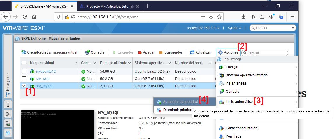 Establecer arranque automático y prioridad de máquinas virtuales en VMware ESXi 6.5