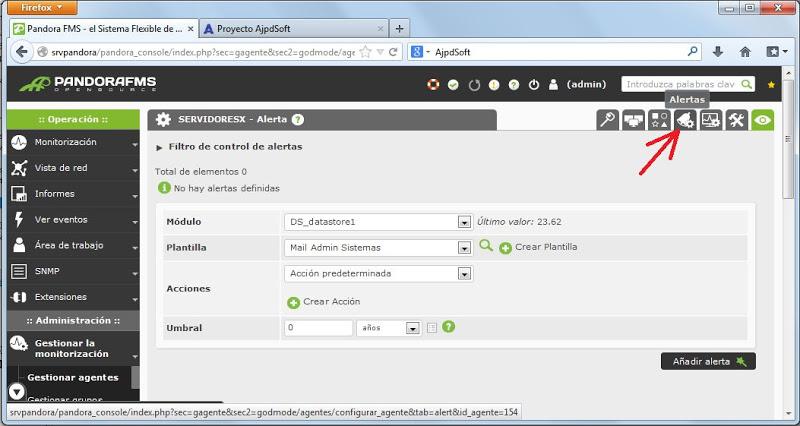 Configurar los módulos del agente del servidor VMware ESXi en Pandora FMS, establecer alertas