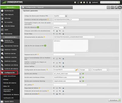 Configuración general Pandora FMS
