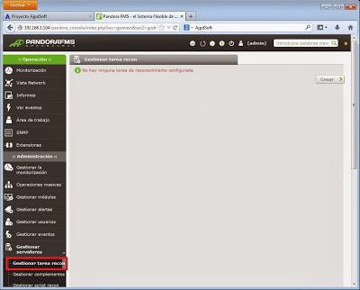 Tarea de reconocimiento recon en Pandora FMS para autodescubrimiento de agentes