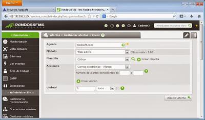 Añadir alertas para módulos de agentes en Pandora FMS