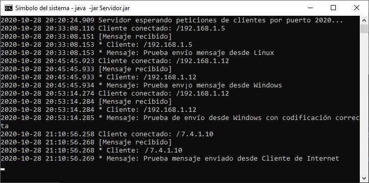 Enviar mensaje desde Cliente que está fuera de la red LAN, desde Internet, a Servidor