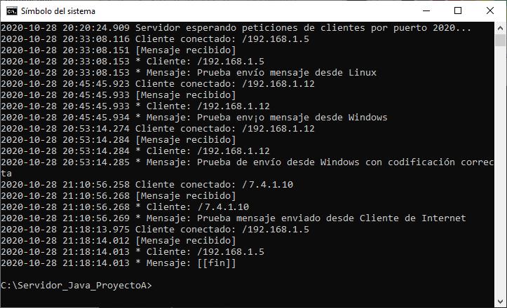 Código fuente y aplicaciones JAR completas Cliente y Servidor para enviar mensajes mediante Socket con IDE IntelliJ IDEA