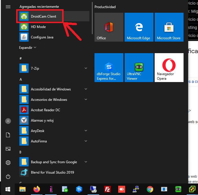 Instalar aplicación DroidCam Client en el PC con Windows