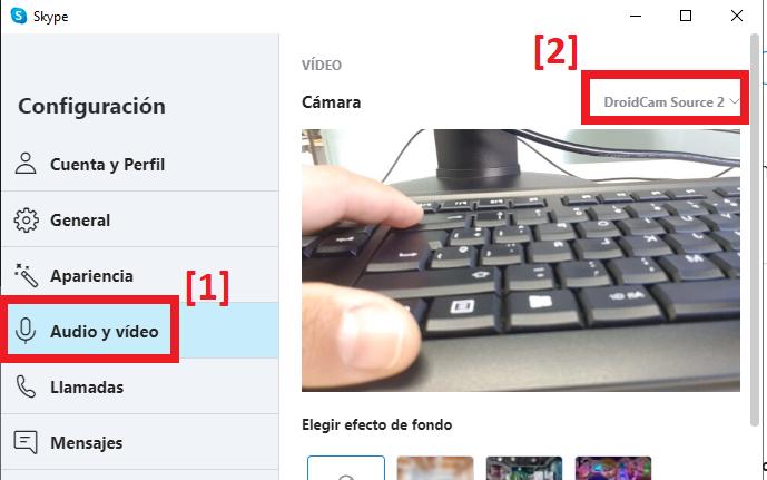 Configurar Skype con DroidCam para usar el móvil como webcam