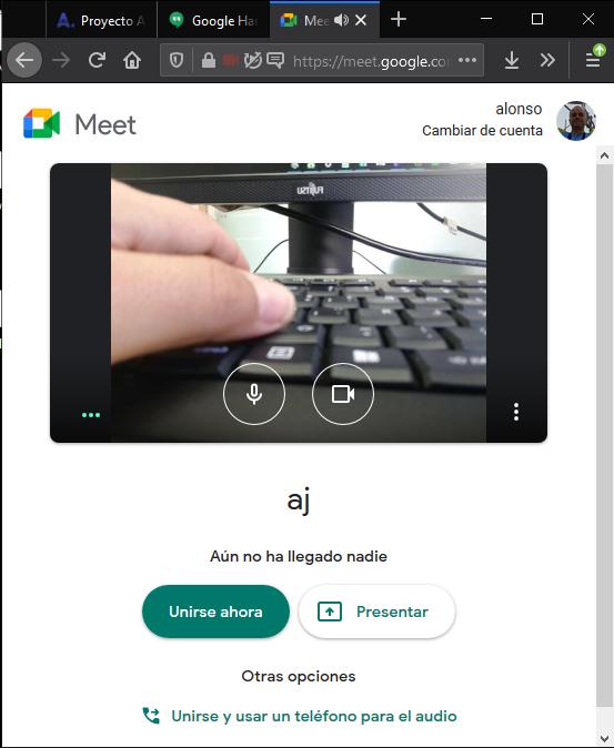Configurar videoconferencia en Google Hangouts con DroidCam vía navegador (Firefox)