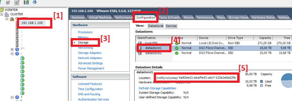 Comprobar ruta de acceso (location) de cada datastore VMware ESXi para reclamación