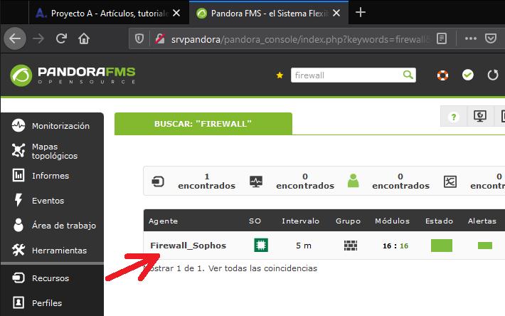 Agregar módulos/monitores/sondas SNMP para firewall Sophos en Pandora FMS