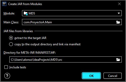 Generar fichero JAR empaquetado de  aplicación Java con IntelliJ IDEA