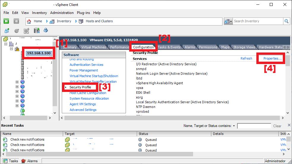 Habilitar conexión SSH a host VMware ESXi