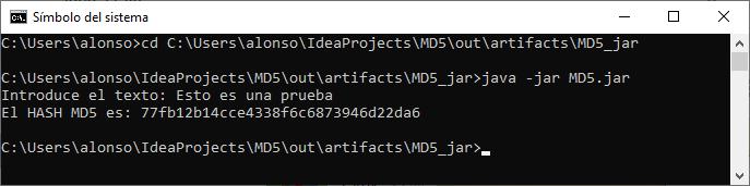 Código fuente y aplicación JAR completa Obtener HASH MD5 de texto en Java con IDE IntelliJ IDEA