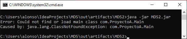 Error al ejecutar JAR: Could not find or load main class nombre_clase