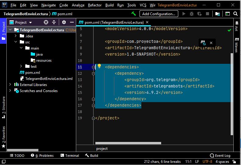 Crear proyecto Java en IntelliJ IDEA usando Maven como repositorio que lee y envía mensajes a Telegram