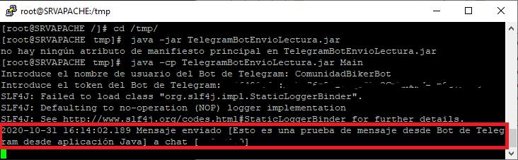 Código fuente Java de aplicación que lee y envía mensajes a un Bot de Telegram con IDE IntelliJ IDEA y repositorio Maven