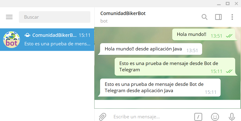 Probar aplicación Java en JAR en Linux que lee y envía mensajes de Telegram
