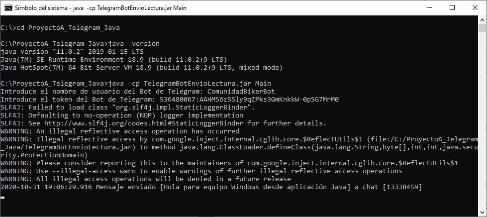 Probar aplicación Java en JAR en Windows que lee y envía mensajes de Telegram