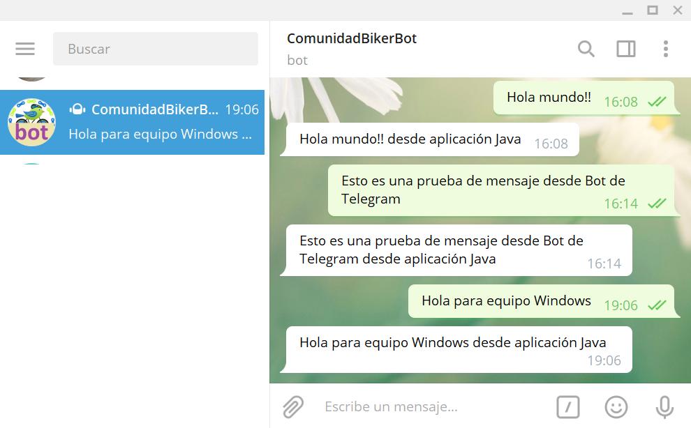 Aplicación Java para envío y lectura de mensajes mediante Bot de Telegram generando JAR que funciona en Windows y Linux