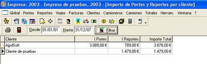 AjpdSoft Gestión de Transportes en funcionamiento