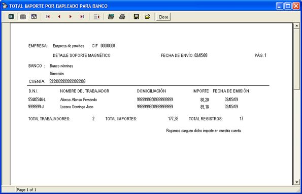 Gestión de la nómina, cuaderno 34, envío asesoría laboral - Control de campo