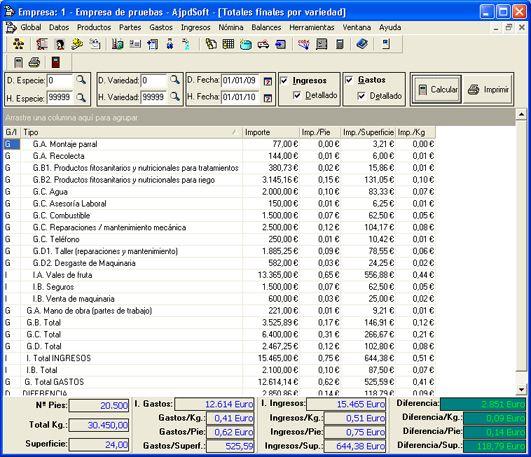 Balances, informes, totales finales - Control de campo