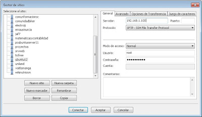 Acceso con FileZilla Client mediante SSH a Linux Ubuntu Server