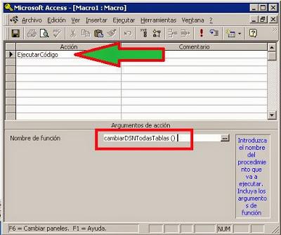 Crear macro para ejecutar código VBA para actualizar el DSN de las tablas vinculadas de una base de datos Access