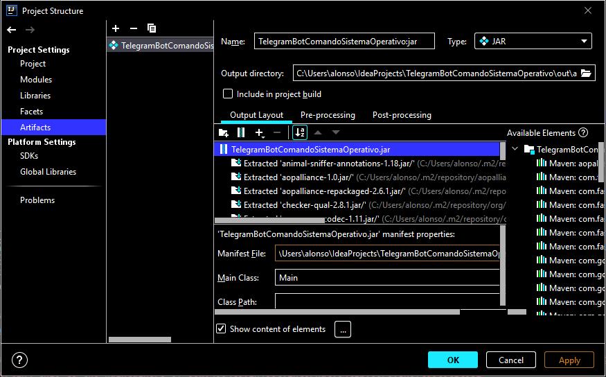 Generar fichero JAR de aplicación Java que lee comando de Telegram y lo ejecuta en sistema operativo en IntelliJ IDEA y Maven