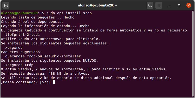 Instalar aplicaciones desde la línea de comandos Terminal en Linux Ubuntu 20.04.01. Control remoto desde equipo Windows a equipo Linux con RDP