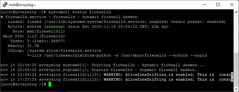 Comprobar estado, instalar, activar, mostrar  reglas de una zona en firewalld