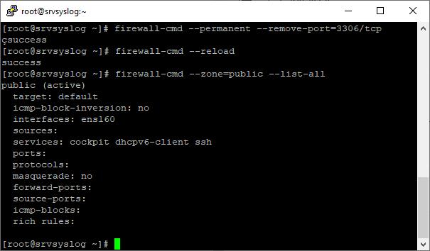 Eliminar un puerto abierto en el firewalld