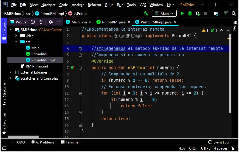 Clase donde se implementan los métodos de la interfaz remota