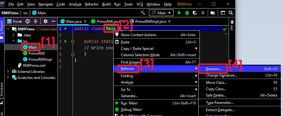 Primera aplicación Java RMI que invoca un método remoto en el servidor y recibe el resultado en el cliente