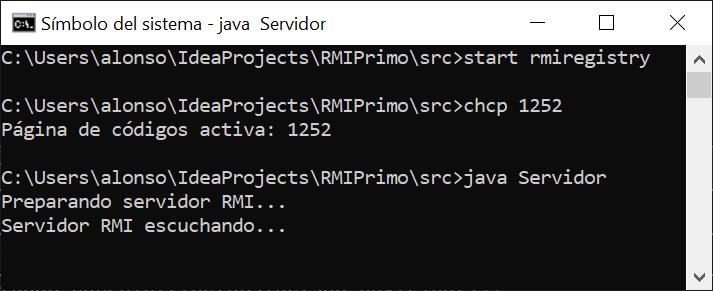 Ejecutar aplicación Servidor RMI en equipo Windows y Cliente RMI en equipo Linux