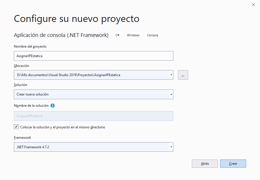 Realizar aplicación de consola en Visual Studio .Net C# que modifica la dirección IP de un equipo y desactiva el protocolo TCP IPv6