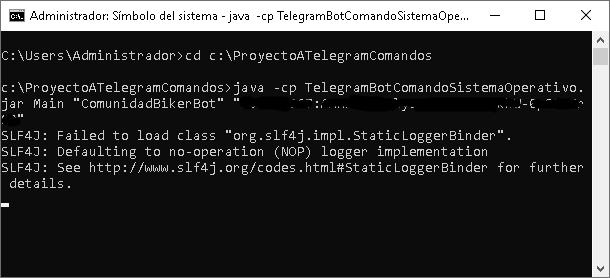 Probar aplicación Java que lee comando de Telegram y lo ejecuta en sistema operativo Windows