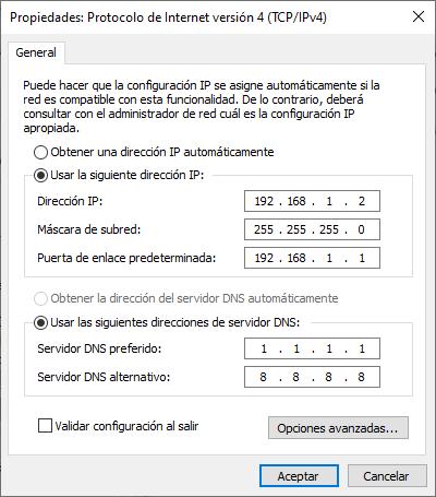Funcionamiento de la aplicación Asignar IP estática en C#