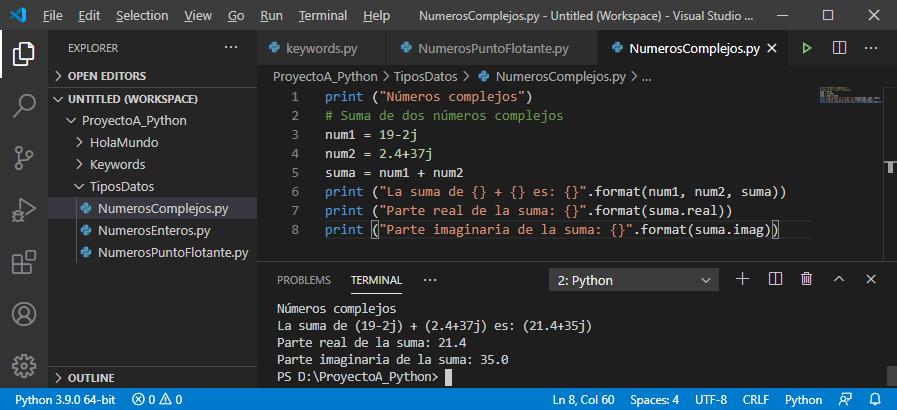 Números complejos (imaginarios) en Python