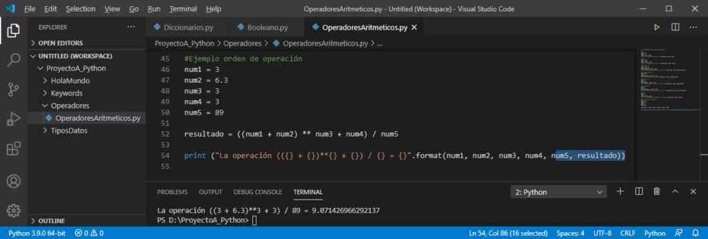 Orden de operación en Python