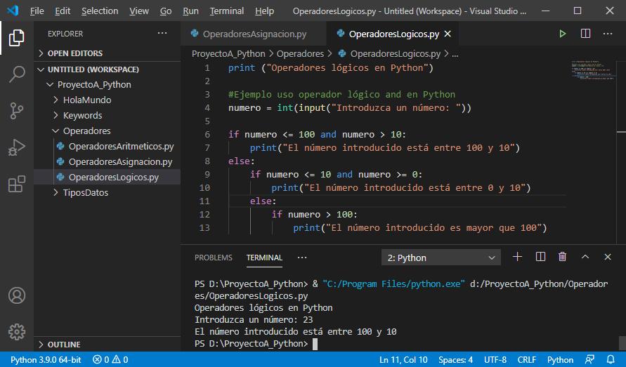 Operadores lógicos en Python