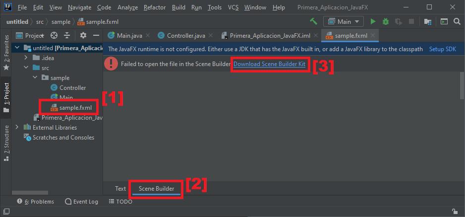 Crear proyecto JavaFX y configurar IntelliJ para que use Scene Builder integrado