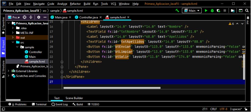 Diseñar un formulario (ventana) de prueba con IntelliJ y Scene Builder generando fichero .fxml