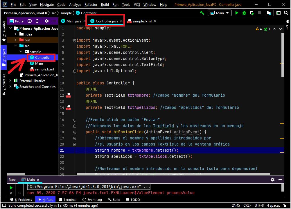 Programar los eventos de los componentes visuales (Button)
