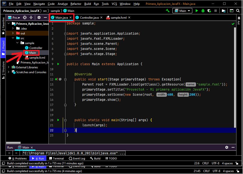 Clase principal Main, iniciar escena JavaFX al arrancar aplicación