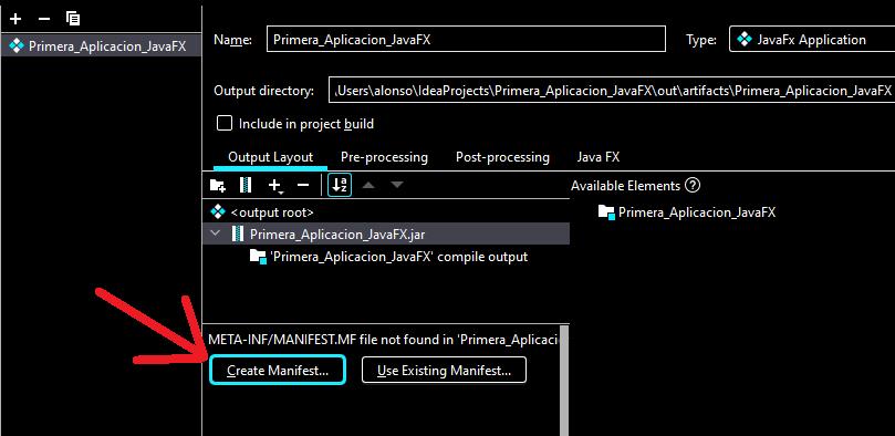 Generar fichero ejecutable JAR de aplicación gráfica JavaFX en IntelliJ IDEA