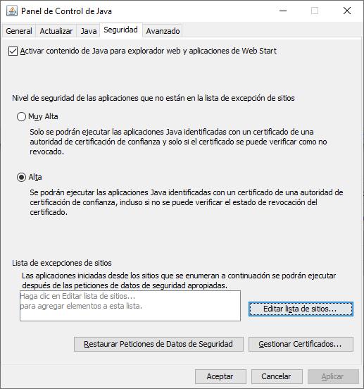 Nivel de seguridad en Java para ejecutar JNLP