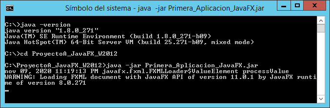 Probando aplicación JavaFX con entorno gráfico en equipo Windows