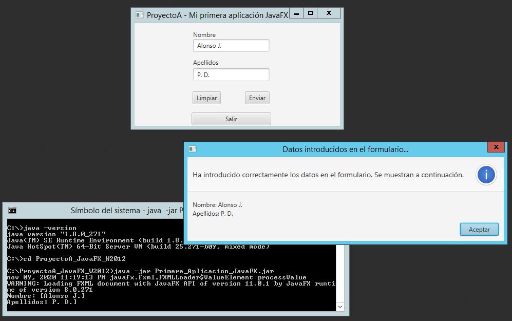 Código fuente Java de aplicación JavaFX de ejemplo con una ventana y controles gráficos con IDE IntelliJ IDEA
